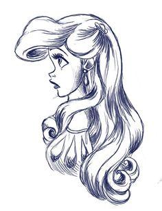 Girl Princess illustration. Ariel drawing / Illustrazione Ragazza, Principessa. Disegno di Ariel, Diseny - Art by ..? Disney.. ?