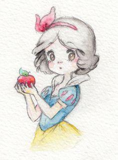Meine Disney Zeichnung - Blancanieves y los 7 enanitos, Bontus idee di Tatuaggio Kawaii 💫 Disney Princess Drawings, Disney Princess Art, Disney Sketches, Disney Drawings, Cartoon Drawings, Cute Drawings, Drawing Sketches, Drawing Disney, Arte Disney