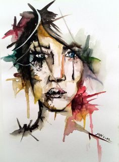 """Something I did back in 2012, first time using aquarelle like this, messy. #aquarelle """"painting #watercolours #colours #DIY"""