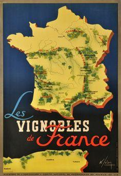 Affiche vintage des Vignobles de France.  #affiche #vintage #vignobles #france
