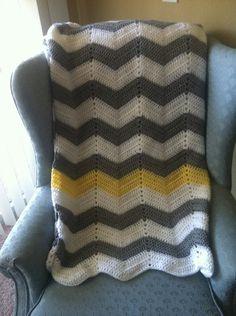 white, gray chevron crochet blanket with yellow stripe :-)