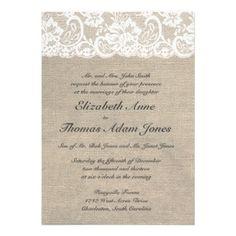 Vintage Lace Look & Burlap Look Wedding Invitation from Zazzle.com