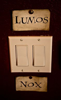 Harry Potter: Lumos and Nox light switch -- created with watercolors and ink by thelegendwrit