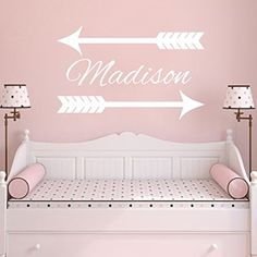 Name Wall Decal Arrow Vinyl Lettering Decal Sticker Custom Decals Personalized Name Decor Bedroom Nursery Baby Room Decor Girl Boy Art ZX28