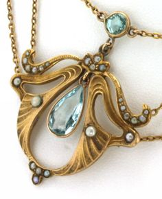 Art Nouveau 14K Yellow Gold Aquamarine & Seed Pearl Necklace from artisansalcove on Ruby Lane