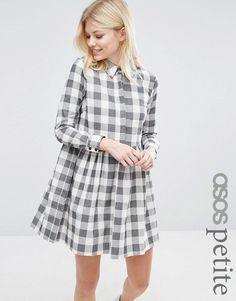 ASOS Petite | ASOS PETITE Gingham Smock Mini Shirt Dress