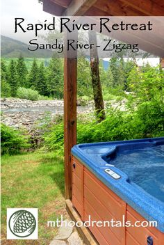 A favorite Mt Hood Vacation Rental for 20 years, the Rapid River Retreat is set up perfectly for foodies who like to cook and relax with awesome Sandy River views. Vacation Home Rentals, Cabin Rentals, Ski Europe, Hot Tub Deck, Gas Bbq, National Parks Usa, 20 Years, Awesome, Amazing