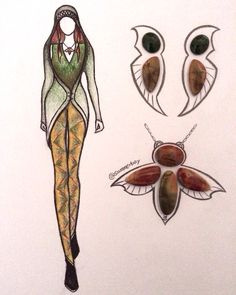 This week's stone-fashion illustration practice: multiple earth tone picasso jasper, plus a pair of small green jade. Jewelry design ideas: large wing shaped ear studs, and insect shaped necklace.