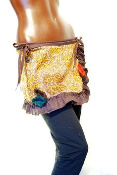 African wrap skirt orange brown elven boho by PinkyPurpleTree