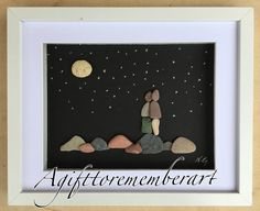 This on has also found his new home! You can still order the same design if you are interested #agifttorememberart #pebbleart #nightsky #moon #nature #fullmoon #love #handmade #unique #originaldesign #made by me #etsy #etsyseller #makersgonnamake #frame #craft #roomdecor #instaart #art #giftideas