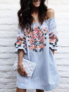 Hot Shirring Off Shoulder Floral Casual Dress