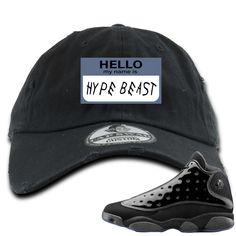 ae194139621ff Air Jordan 13 Cap and Gown Sneaker Match Hello My Name is Hype Beast Drake  Style Black Distressed Dad Hat