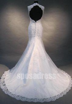 backless wedding dress lace mermaid wedding dress by sposadress, $298.00