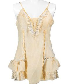 Forla Paris Tiered Tank Top SALE $31.95 was $39.95 Item #393754894  Lace trim tea stain tiered tank  Adjustable straps