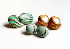 Vintage Enamel Earring Trio Pierced Set Blue Green Orange by ReneeMaeVintage, $12.00