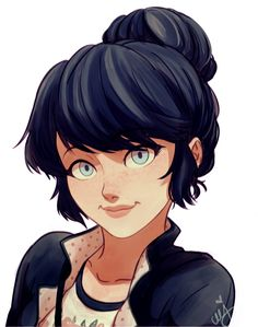 Marinette in a bun is my PURE STRENGHT ᕙ(⇀‸↼‶)ᕗ/ ceejles.tumblr.com