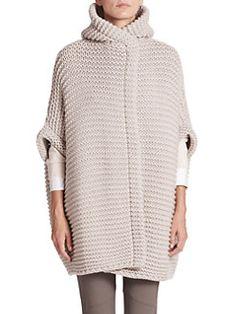 Brunello Cucinelli Women's Stretch-Silk Turtleneck Top Sleeveless turtleneck top of stretchy silk. Knitwear Fashion, Knit Fashion, Cashmere Cardigan, Knit Cardigan, Baby Hats Knitting, Knitted Poncho, Striped Fabrics, Knit Jacket, Lana