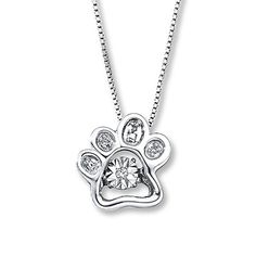 From Diamonds in Rhythm®, this adorable paw print-shaped necklace for her features a round center diamond that moves, catching light from every angle. More diamonds shimmer along the sterling silver pendant to complete the look. The pendant suspends from an 18-inch box chain that secures with a lobster clasp.