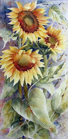 They waddle in the sun -- Artist: Gaétane Lessard Watercolor Sunflower, Sunflower Art, Watercolor Flowers, Art Floral, Watercolour Painting, Watercolors, Amazing Art, Art Projects, Art Photography