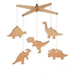 Wooden Dinosaur Nursery Baby Mobile - Tasmanian Oak / Flat Pack (T-rex, Apatosaurus, Triceratops, Stegosaurus, Parasaurolophus)