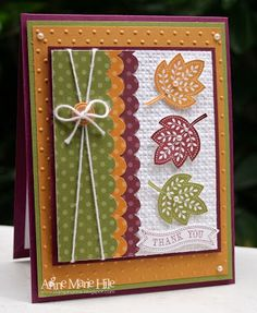Best DIY Ideas of Handmade Thanksgiving Cards Picture 18 - Awesome Indoor & Outdoor Fall Cards, Holiday Cards, Christmas Cards, Stampin Up Karten, Stampin Up Cards, Happpy Birthday, Leaf Cards, Embossed Cards, Thanksgiving Cards