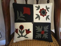 Baltimore Quilt Wool Applique Pillow Penny Rug by Justplainfolk