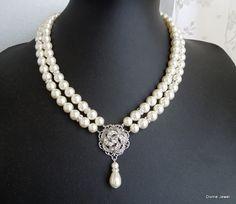 Pearl NecklaceBridal Pearl Rhinestone Wedding by DivineJewel