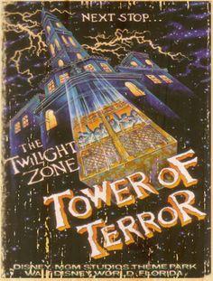 Vintage and Retro Disney Wood Art Tower of Terror gift memory MGM Studios Disneyland Vintage, Vintage Disney Posters, Retro Disney, Old Disney, Vintage Cartoon, Disney Love, Disney Gift, Disney Theme, Disney Halloween