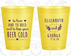 To Have and to hold and to keep your beer cold, Cheap frost flex cup, Floral Wedding Cups, Heart, Yellow Frosted Cups (281)