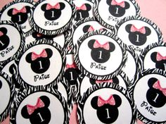 Minnie Mouse Zebra With Light Pink Polka Dotted Bow Custom Confetti for a birthday party, baby shower or other celebration!  www.missymadeit.com