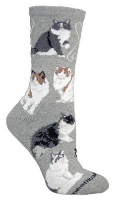 Ragamuffin Cat Gray Cotton Ladies Socks