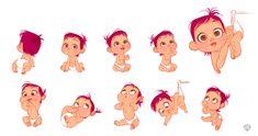 Artes de Amanda Jolly para o filme Storks, da Warner Disney Concept Art, Art Disney, Pixar Concept Art, Baby Cartoon Drawing, Baby Drawing, Cartoon Drawings, Art Drawings, Character Poses, Kid Character