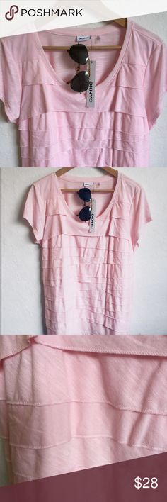"""DKNYC Layers Of Ruffles Pink Tee Top XXL Layers of ruffles pink tee top, crewneck, short sleeves, 22"""" x 27"""".   🌷Thank you for visiting my closet! DKNYC Tops Tees - Short Sleeve"""
