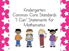 "Kindergarten ""I can"" statements for Math (just $2 at TpT right now...probably more than worth it!)"
