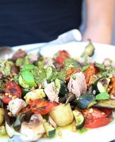 Mediterranean vegetables and tuna - new picture of the finished recipe - I just love this dish as it has many variations from meatless to low-carb to gluten-free. It really is a winner!