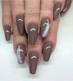 Feather / gel nails / nail art / fingernails / coffin nails / nails