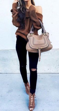 25 Winter Date Night Outfits To Copy Right Now - Off the shoulder tops are so cute for winter date night outfits!<br> Cute winter date night outfits to wear on your next date! These ideas are perfect for casual or fancy dates in the chilly weather! Winter School Outfits, Winter Date Night Outfits, Cute Winter Outfits, Casual Winter, Summer Fashion Outfits, Dressy Outfits, Fall Outfits, Winter Fashion, Evening Outfits