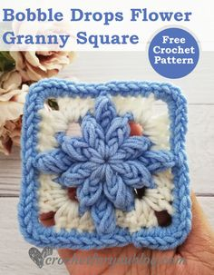 Crochet Bobble Drops Flower Granny Square Free Pattern - Crochet For You Free Crochet Square, Crochet Bobble, Crochet Flower Squares, Crochet Squares Afghan, Bag Crochet, Crochet Square Patterns, Manta Crochet, Crochet Granny, Crochet Motif