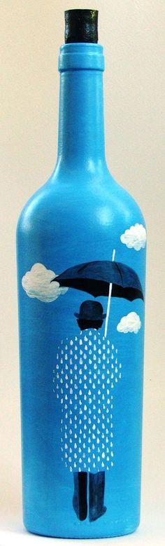 Botella pintada a mano