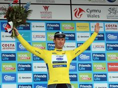 Mark Renshaw in yellow at the Tour of Britain