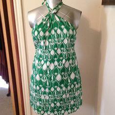 """Halter Sundress Green/white halter sundress.bust 28""""-32""""   Waist 34"""". Hips40"""". From neckline to hem 31"""". Lined. Old Navy Dresses"""