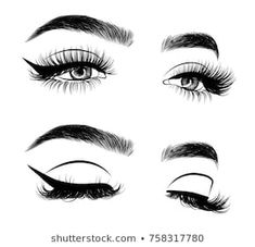 Hand-drawn woman's sexy luxurious eye with perfectly shaped eyebrows and full lashes. Idea for business visit card, typography vector.Perfect salon look. Eyebrows Sketch, Fashion Clipart, Sketch Poses, Lashes Logo, Eye Makeup Art, Glitter Wallpaper, Selfie Poses, Art Base, Instagram Highlight Icons