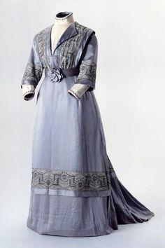 blue dress 1905   Ladies dress with floral motif. Two-part, gray-blue. Origin: Latvia ...