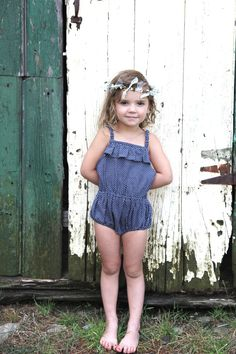 Gorgeous little denim sunsuit. Minou Kids #estella #kids #fashion