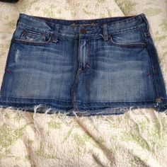 Jean skirt Abercrombie jean skirt, size 4 but runs a little small. 11 inches top to bottom. Worn maybe once, perfect condition! Abercrombie & Fitch Skirts