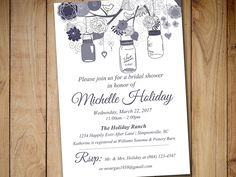 Rustic Bridal Shower Invitation Template - Mason Jar Wedding Shower Template Pewter Wedding Shower Invitation Download by PaintTheDayDesigns on Etsy