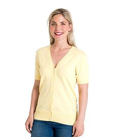 WoolOvers Womens Silk and Cotton Short Sleeved Knitted Cardigan Lemon, L. UK tops. Women tops. It's an Amazon affiliate link.