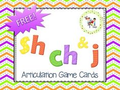 SH-CH-J Game Cards for Articulation Practice: 24 picture cards in a variety of word positions. Articulation Therapy, Articulation Activities, Speech Therapy Activities, Language Activities, Educational Activities, Speech Language Pathology, Speech And Language, Language Arts, Game Cards