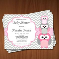 Owl Baby Shower Invitation Girl Baby Shower invitations Printable Baby Shower Invite -FREE Thank You Card - editable pdf Download (534) rose by diymyparty on Etsy