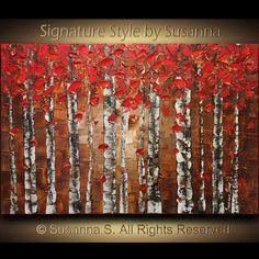 Abstract Red Birch Tree Painting ORIGINAL Aspen door ModernHouseArt
